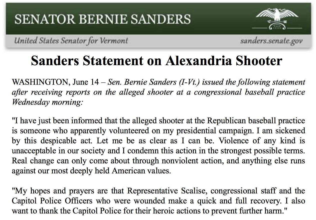 Bernie sanders statement, shooting