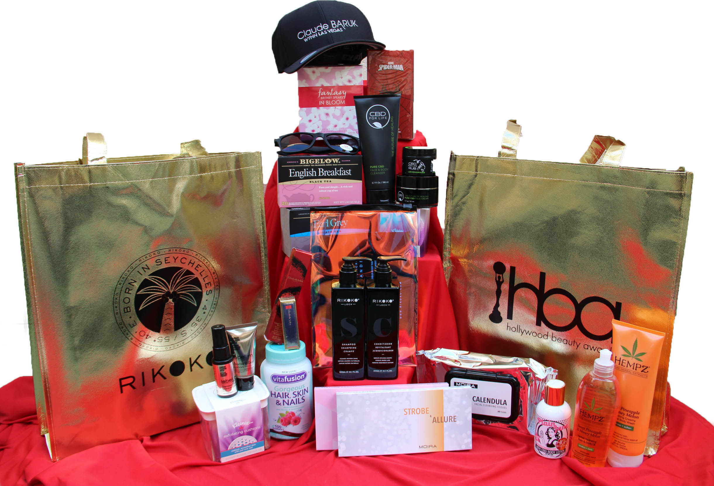 Hollywood beauty awards gift bag, cbd for life, elizabeth arden, vitafusion