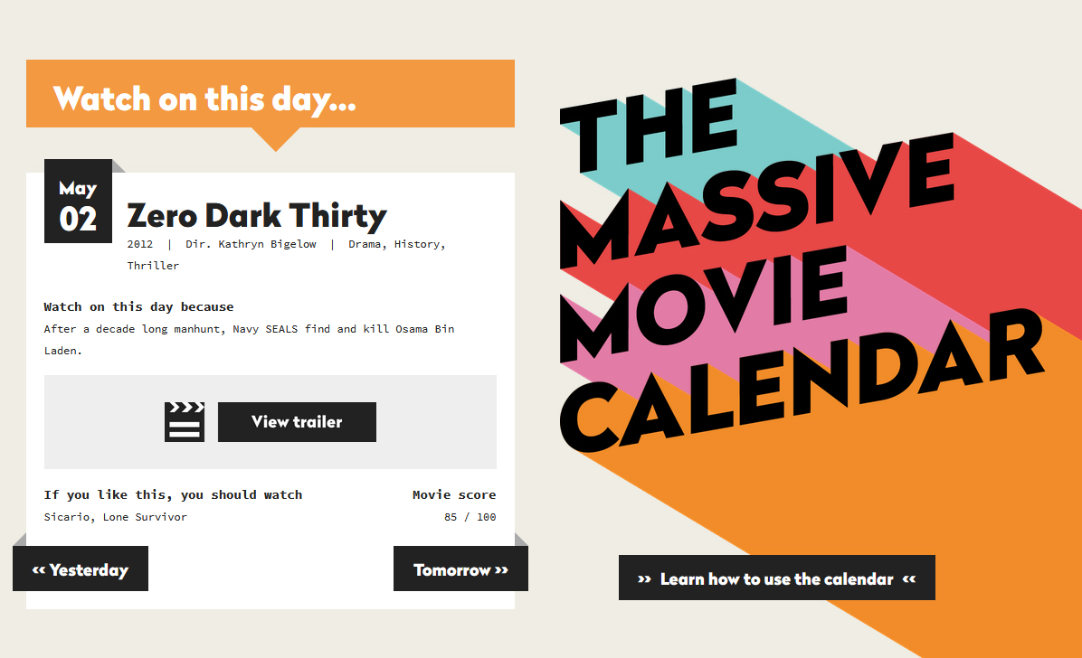 massive movie calendar