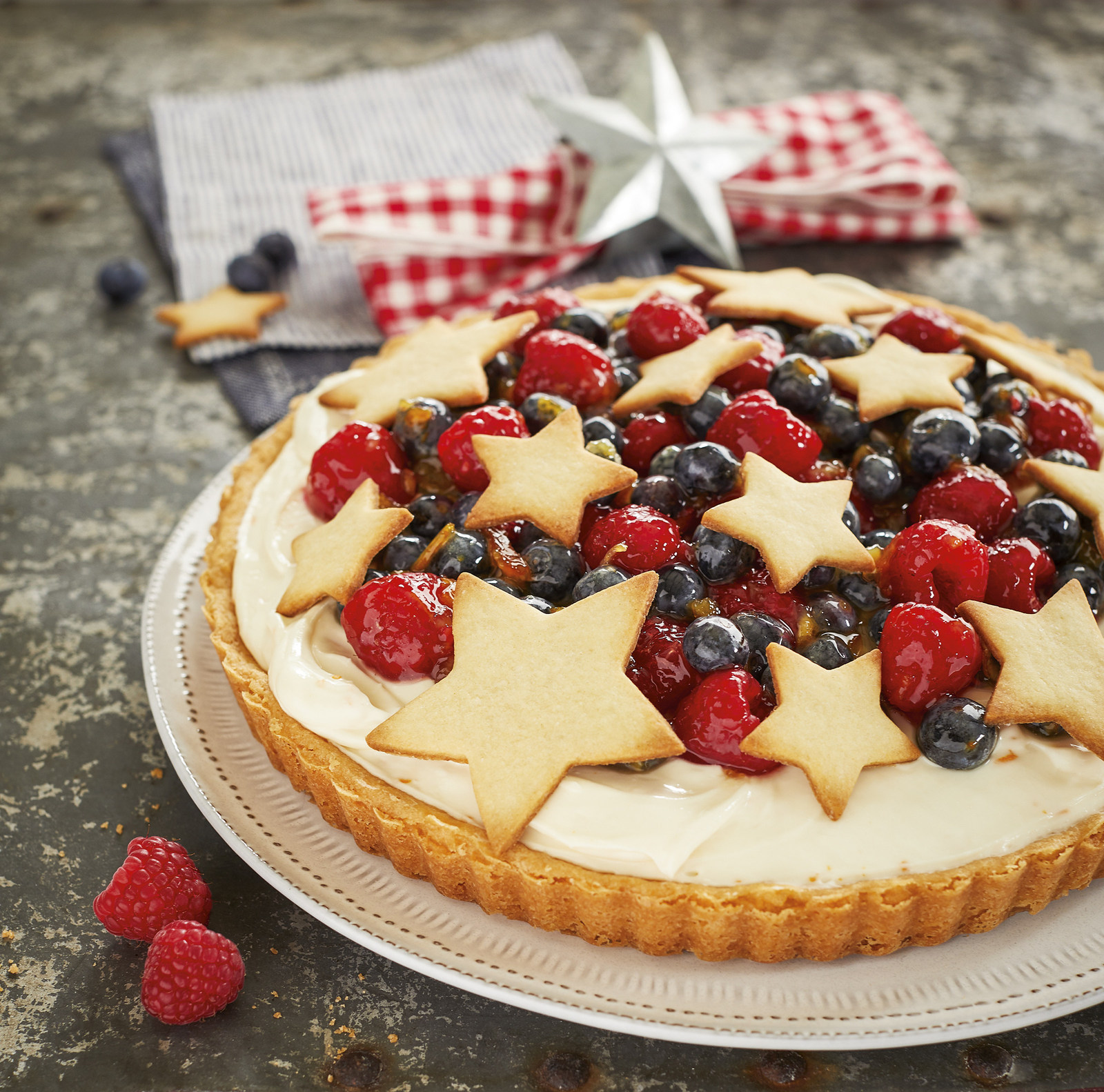Wisconsin cheese, berry ricotta tart