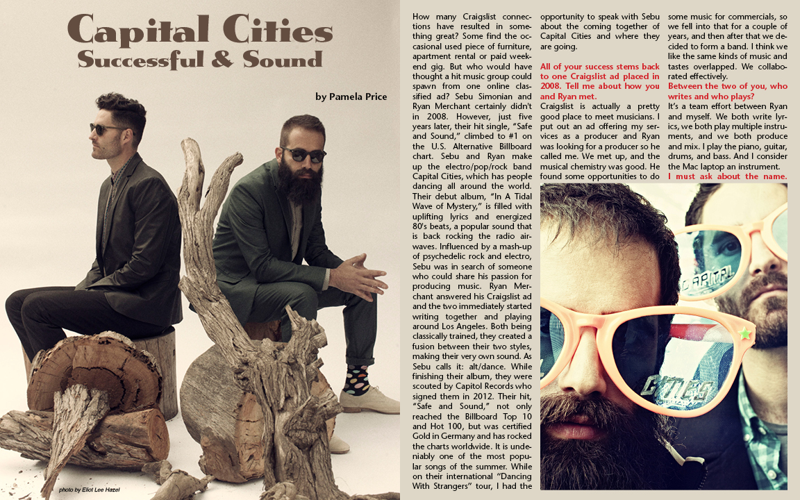 Capital Cities, interview by Pamela Price