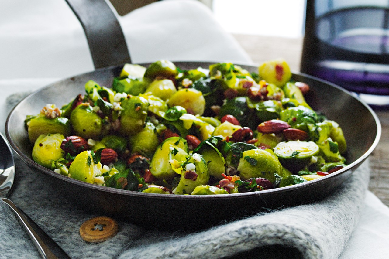 Thanksgiving Recipe Pan Fried Brussel Sprouts Amp Bacon