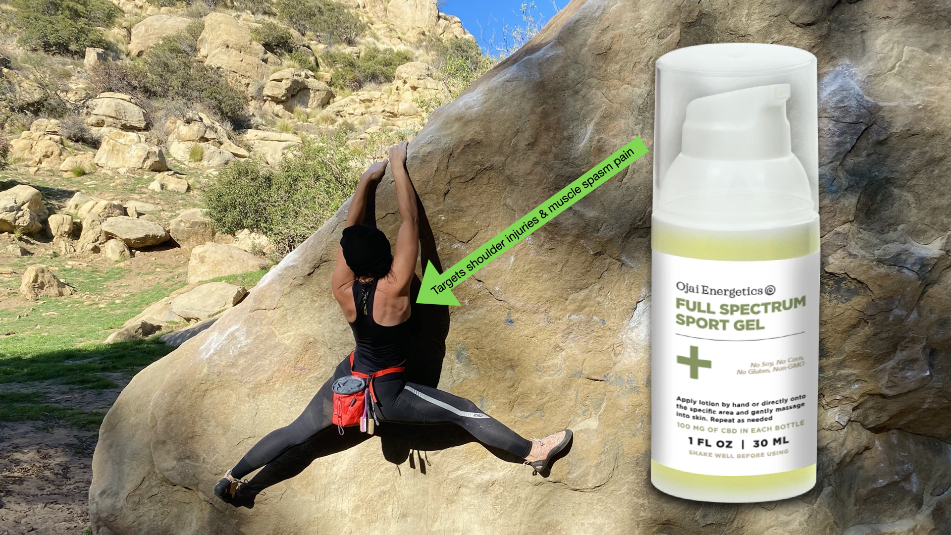 pamela price, rock climbing, ojai energetics, sports gel, cbd